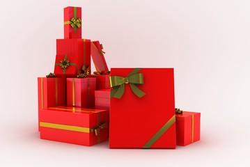 regali rossi su sfondo bianco