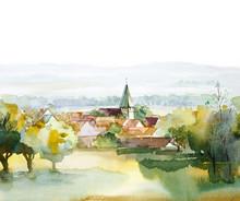 Коллекция Акварель пейзаж: лето