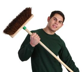Gardener with a broom