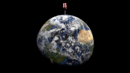 Globe with stop Global Warming sign animation