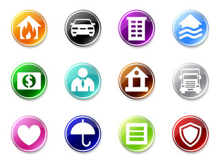 3d glossy simple insurance icons.