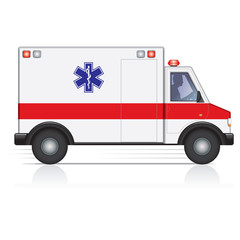 Vector ambulance in motion with a driver silhouette