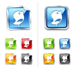 Bright shiny metallic sticker blue birds icon and button.
