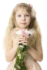 Beautiful child with spring flowers isolated on white