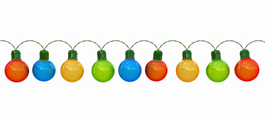Christmas lights isolated on white