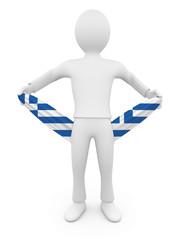 Personnage 3d grecque ruiné tirant sur ses poches