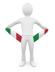 Personnage 3d italien ruiné tirant sur ses poches