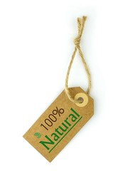 Label and 100% Natural green text and leaf