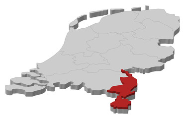 Map of Netherlands, Limburg highlighted