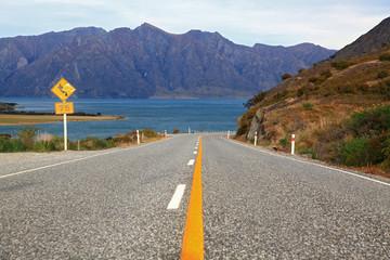 perspective of highway road freeway to lake Hawea in Wanaka New