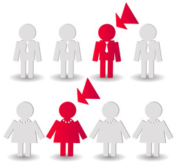 selection red people, vector illustration