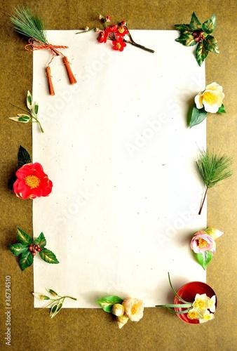 Fotobehang Narcis 冬の和の花 正月イメージ