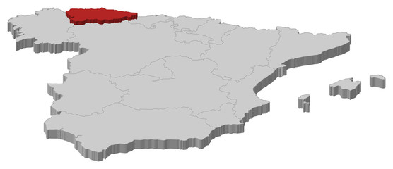 Map of Spain, Asturias highlighted