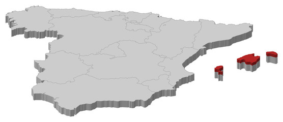 Map of Spain, Balearic Islands highlighted