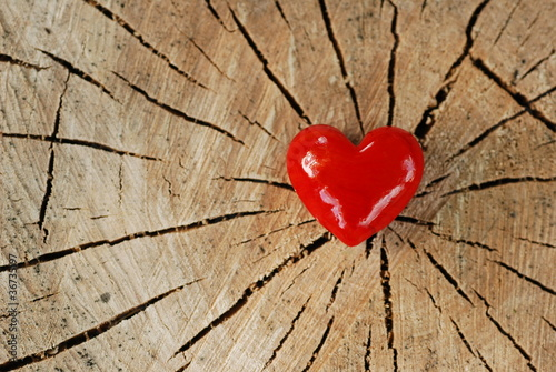 Red hesrt on wood