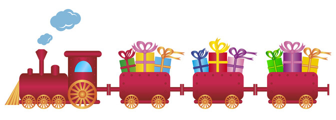 cute red train with gifts,vector