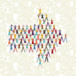 Social media people in arrow icon shape