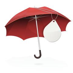 Parapluie rouge et son étiquette ronde vierge (reflet)