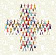 Social media people in plus symbol shape