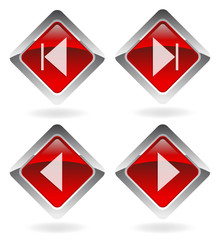 "red vector buttons set  ""navigation"""
