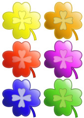 colored four-leaf clover