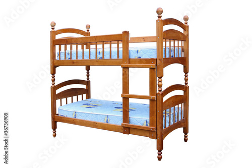 Wooden two-storeyed bed