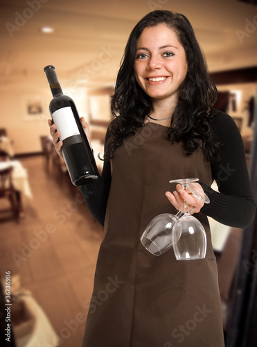 Female restaurant wine expert