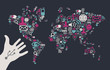 Usb hand reaches a social media world map