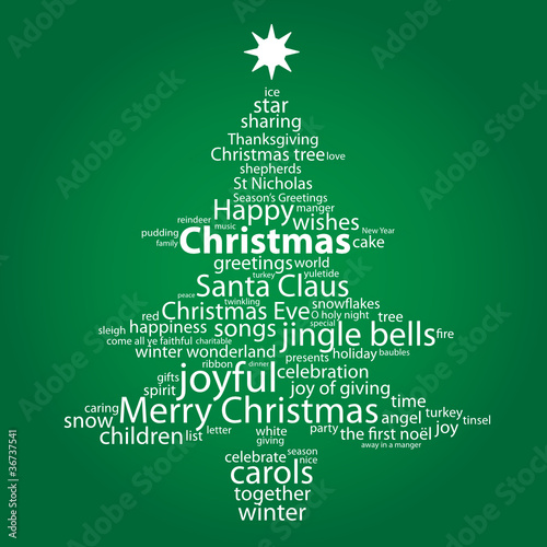 """CHRISTMAS"" Tag Cloud (tree icon happy merry greetings card)"