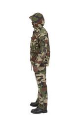 tenue de camouflage de profil sur fond blanc détouré