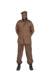 uniforme militaire sur fond blanc détouré de face