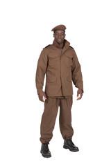 uniforme beige militaire sur fond blanc détouré