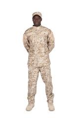 soldat bras dans le dos sur fond blanc