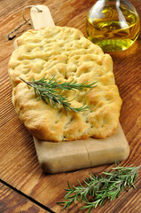 Focaccia with rosemary and olive oil