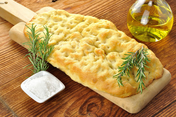 Focaccia with rosemary, coarse salt and olive oil