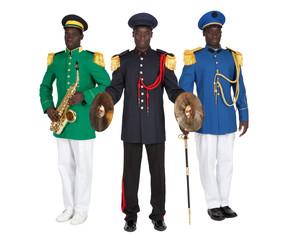 uniformes de fanfare sur fond blanc