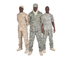 Soldats américains sur fond blanc