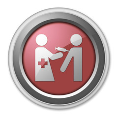 "Red 3D Style Button ""Immunizations"""