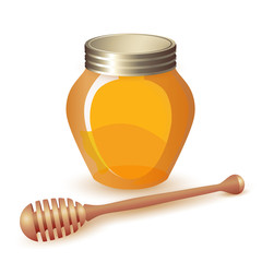 Closed honey jar and wooden dipper isolated on white