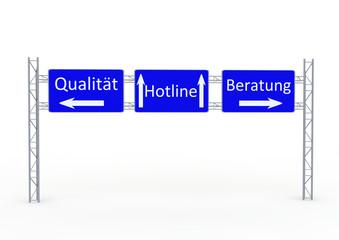 """Schilder """"Qualität,Hotline,Beratung"""""""
