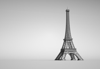 Eiffel Tower in Paris. 3d illustration on a white background.