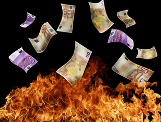 Euro bank notes burning in fire