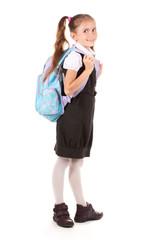 Portrait of beautiful little girl in school uniform Isolated