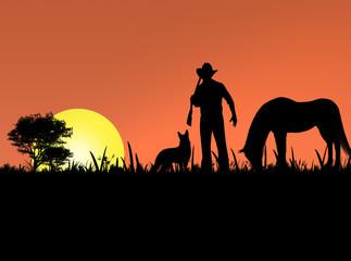 cowboy, dog and horse