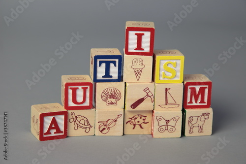 """autism"" spelled with kids blocks"