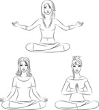 Beautiful girls sitting in yoga lotus position.