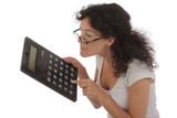 femme avec calculette humour poster