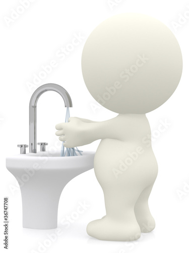 3D man washing his hands