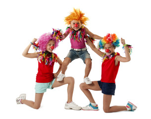 Three funny active clowns