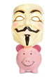 Piggybank and guy fawkes mask